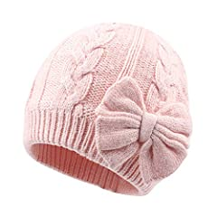 """Winter Baby Girls Beanie Hat With Cute Flower Bow  Features  100% brand new and high quality  Material:50% Cotton+45% Acrylic+5%Wool  Size Guide:  S: fit for 2-6 Months,15-16.5"""" Head Circumference  M: fit for 6-18 Months,17.3-18.1"""" Head C..."""