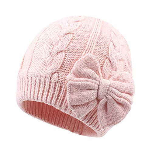 Winter Warm Knitted Baby Hat for Girls Cotton Lined Infant Toddler Girls Hat Autumn Cute Bow Classic Girls Beanie 0-2Y(S,Pink) -