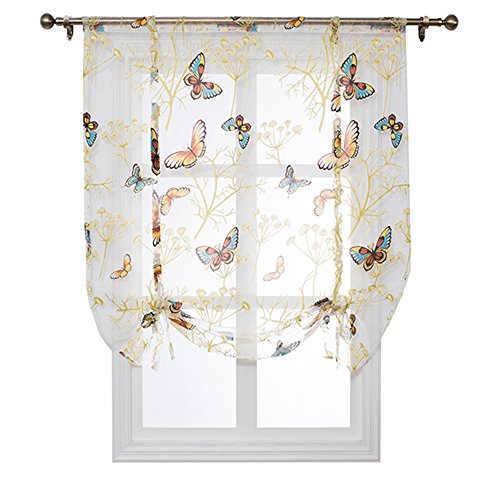 SINOGEM Kitchen Short Sheer Curtains Burnout Roman Blinds Sheer Panel Tulle Window Treatment Door Curtains Home Decor-Tie Up Sheer for Small Window (Butterfly, 55