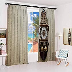 hengshu Clock Noise-Proof Sunshade Curtain an Antique Style Wood Carving Clock with Roman Numerals Hanging on The Wall Design Waterproof Fabric W42 x L84 Inch Brown and Tan