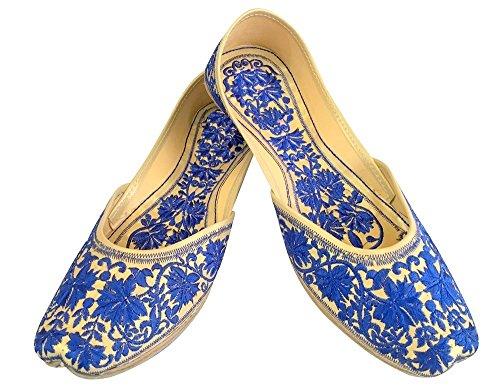 Schritt N Style Flach Panjabi jutti Flache Schuhe Hochzeit Schuhe Khussa Schuhe mojari jooti Blau