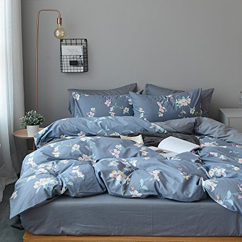 Vintage Flower Print Floral Duvet Cover Set Full Queen Luxury Reversible Bedding Set 100% Cotton Girls Duvet Cover Set 3 Piece Spring Bedding Cover Set for Kids Teens Adults with 2 Pillowcases, Style4 - Full Duvet Set