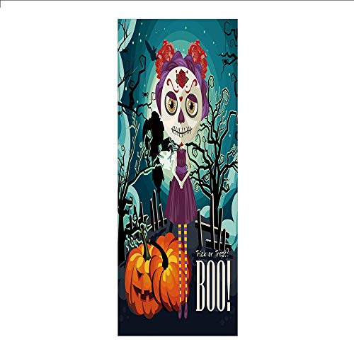 3D Decorative Film Privacy Window Film No Glue,Halloween,Cartoon Girl with Sugar Skull Makeup Retro Seasonal Artwork Swirled Trees Boo Decorative,Multicolor,for Home&Office]()