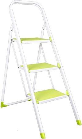 JLDN Escalerilla, 3 Peldaños Escalera Plegable Escalera Plegable escaleras de Tijera con Apoyabrazos Resistente y Ancha Antideslizantes Metal hogares de propósitos múltiples,White: Amazon.es: Hogar