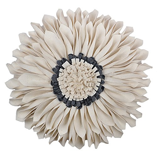 JW Handmade 3D Sun Flowers Accent Pillows Round Cushions for Home Sofa Car Office Chair Bed Decoration Wool White Gray 14 Inch / 35 CM Art Deco Living Room Chair