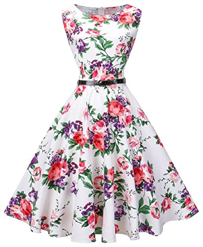 VOGVOG Women's Audrey Hepburn Sleeveless Plus Size Vintage Tea Dress with Belt Pink Floral 3X