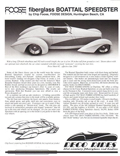 DECO RIDES Sales Brochure and Price List, Chip Foose Fiberglass Boattail Speedster, Highboy, Fat Man Fabrications Chassis