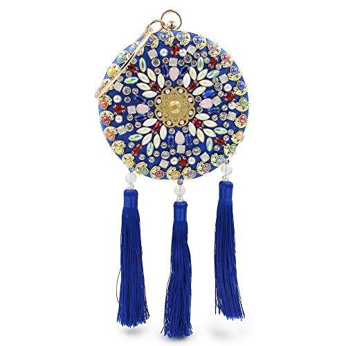 Borsa sposa Yzibei rilievo da Perline da borsa pratico Glitter strass Blu donna da donna sposa con Blu Tassel in Pochette da Colore SWFaSCnq