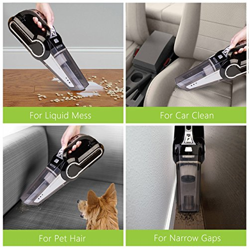 Cordless Vacuum, 12V 120W Portable Cordless Vacuum Cleaner, Wet & Dry Hand-held Car Vacuum for Home or Car with 4KPa Suction, Pet Hair Eraser, LED Light by Dr. Auto by Dr.Auto (Image #3)