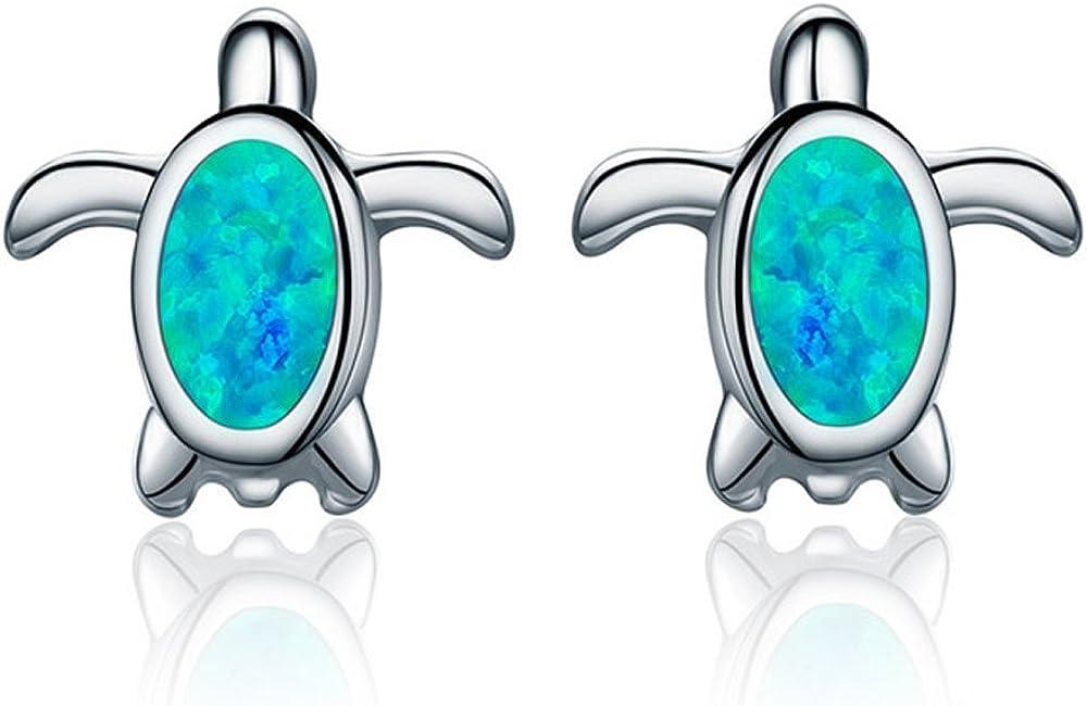 Pendientes de tuerca de plata de ley 925 con diseño de tortuga de ópalo de color azul natural para mujer, regalo de fiesta, joyería fina VSE064