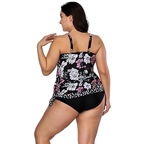cde24b26341d ... Lover-Beauty Damen Badeanzug Große Größen Zweiteiler Sexy Bikini Set  Push up Blumen Schwarz Bademode ...
