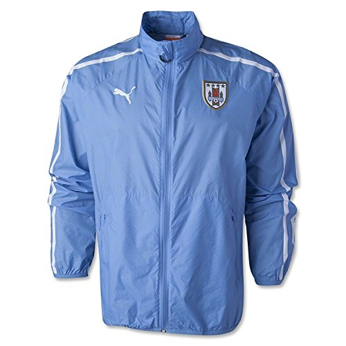 (PUMA Men's Uruguay Walkout Jacket Silver Lake Blue/White Outerwear SM)