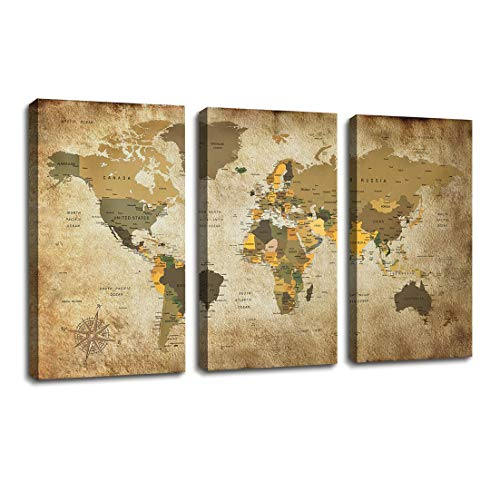 World Map Poster Canvas Wall Art Nautical Decor/3 Pieces Large Modern Framed Wall Art Map of The World Vintage Artwork Contemporary Wall Decor Travel Memory for Home Office Decor Overall 48 x 28 Inch