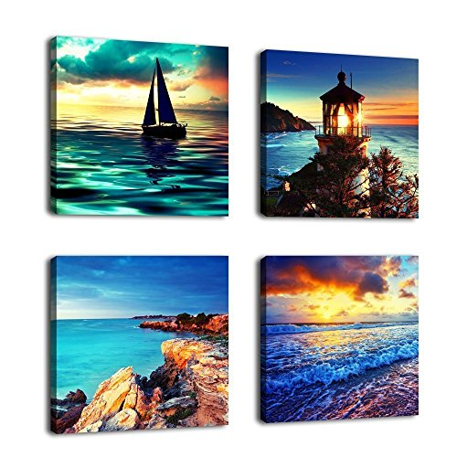 Canvas Wall Art Ocean Sunset Beach Painting 12'' x 12'' x 4 Pieces Blue Seascape Canvas Art Sea Shore Nature Picture Modern Artwork Sailboat Lighthouse Framed Ready to Hang for Home Office Decoration by yearainn