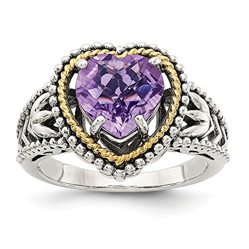 925 Sterling Silver 14k Purple Amethyst Heart Band Ring Size 6.00 S/love Gemstone Fine Jewelry Gifts For Women For Her ()