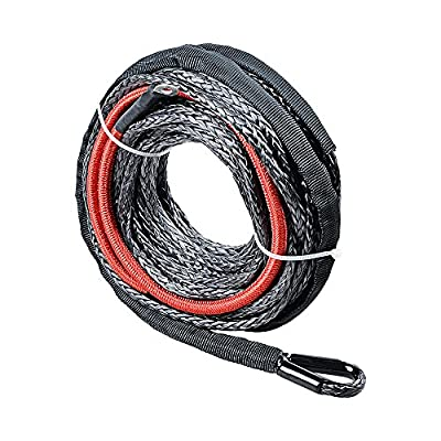Synthetic Winch Rope w/ Heat Guard Protective Sleeve for ATV UTV JEEP KFI Truck
