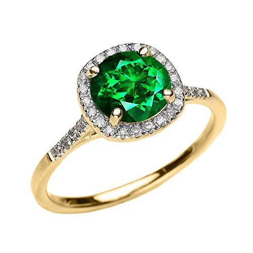 Bague Femme/ Bague De Fiançailles 10 Ct Or Jaune Diamant Et Vert Emeraude