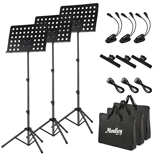 3-Pack MMS-2 Metal Adjustable Sheet Music Stand Portable With Music Stand Light Carrying Bag Black by Moukey (Image #6)