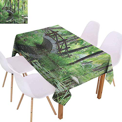 Marilec Stain-Resistant Tablecloth Zen Garden Green Landscape in South China Palm Trees and Bushes Lush Growth Nature Excellent Durability W52 xL72 Green Grey Brown