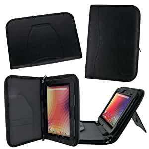 rooCASE Google Nexus 10 (Black) Executive Portfolio Genuine Leather Case Cover - Support Landscape / Portrait / Typing Stand / Auto Sleep and Wake