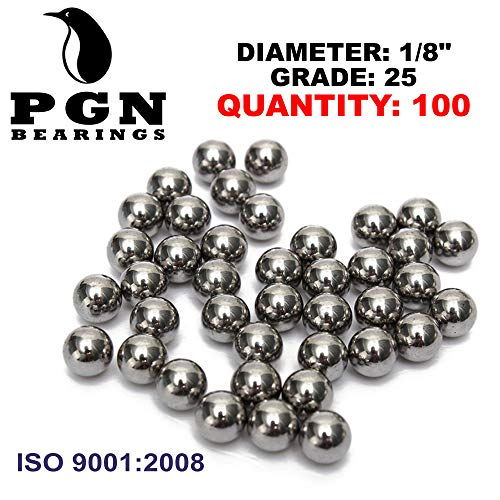 "PGN - 1/8"" Inch (0.125"") Precision Chrome Steel Bearing Balls G25 (100 PCS)"