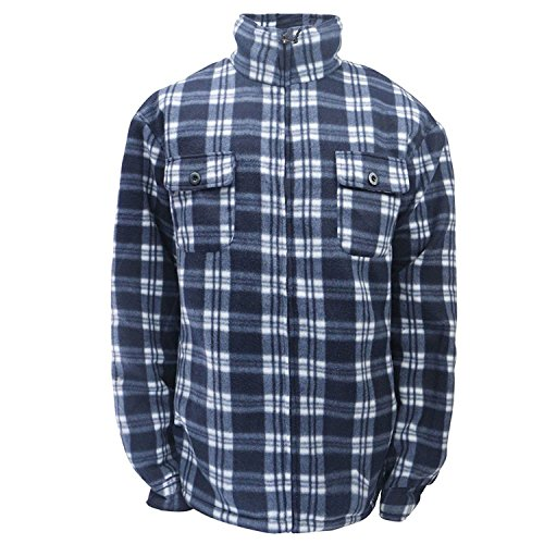 Men's Soft Sherpa Lined Fleece Plaid Flannel Jacket (Navy, (Mens Plaid Coat)