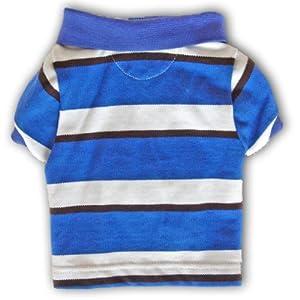 Size #10, Designer Dog Clothes, Preppy Pet Polo Shirt, College Blue Stripe, 100% Cotton