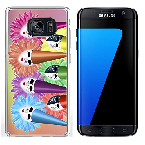 Luxlady Samsung Galaxy S7 Edge Clear case Soft TPU Rubber Silicone IMAGE ID 2441956 group of seven carnival masks with caps and collars on colourful background