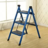 GAOJIAN Aluminum Alloy Small Folding Ladder 3 Step Thick Steel Pipe Pedal Ladder 4 Colors Available , d