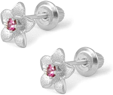 Baby Girl/'s Pink Sapphire Created Diamond Flower Stud Earrings 14K Yellow Gold