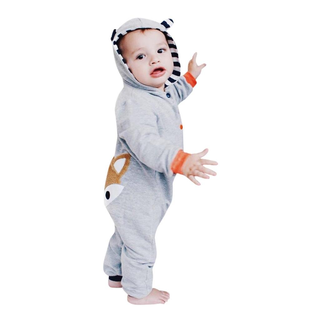 Kavitoz Hot Sale Newborn Kid Baby Stripe Fox Print Boys Girls Clothes Hoodie Jumpsuit Outfits