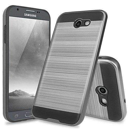 Samsung Galaxy J7 Sky Pro Case, Galaxy J7 Perx Case, Galaxy J7 V Case, Galaxy Halo Case, Galaxy J7 Prime Case, TJS Dual Layer Hybrid Shockproof Case Metallic Brush Finish with Hard Inner Layer (Grey)