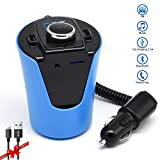Bluetooth FM Transmitter for car,LUTU Wireless Cup FM Transmitter for car Mp3 Player Accessories kit with Radio Aux Input Adapter,Handsfree calling and USB Car Charger For iPhone 7 Etc.-Blue