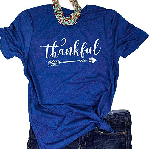 - Pxmoda Women's Casual Letters Printed T-Shirt Short Sleeves Faith Over Fear Arrow Tee Tops (L, Royal Blue-Thankful)