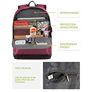 Laptop Backpack for Girls, College High School Student Backpack with Charger for Women and Teens, Water Resistant Canvas Book Bag Weekend Travel Daypack Fits 15.6 Inch Macbook Tablet and Books -Pink