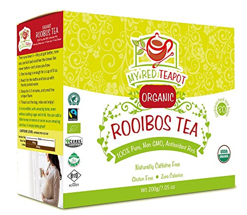 My Red Teapot - Rooibos Tea - 100% Pure USDA Organic - 80 Tagless Teabags - Premium Quality - Caffeine Free - Rich in Anti-oxidants - Zero Calories