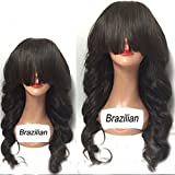 QIRUI HAIR 2017 New Arrival Brazilian Lace Front Wavy Wigs For Black Women 8A Glueless Unprocessed Remy Human Hair Wigs Body Wave With Full Bangs 130-180 Density 22 Inch