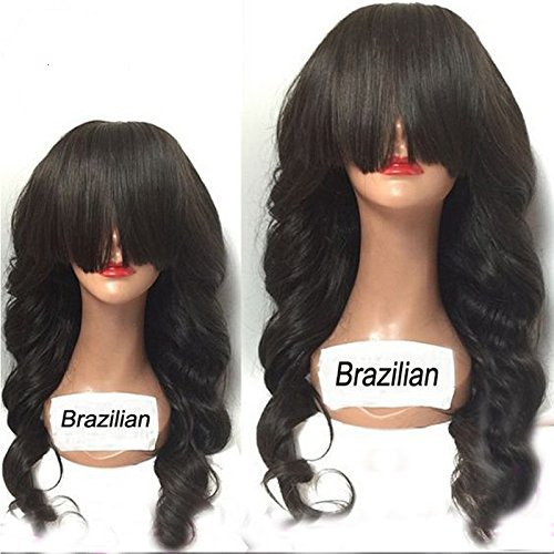 QIRUI HAIR 2017 New Arrival Brazilian Lace Front Wavy Wigs For Black Women 8A Glueless Unprocessed Remy Human Hair Wigs Body Wave With Full Bangs 130-180 Density 22 Inch by QIRUI HAIR