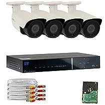 GW Security 4 Channel Hybrid HD-AHD/TVI 4 x 4MP 2.8~12mm Lens 20 Array LED Camera 2TB
