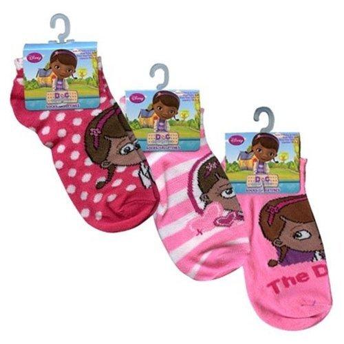 Disney Doc McStuffins Ankle Socks Girls Size 6-8 - 3 Pack (Assorted (Doc Mcstuffins Costume Size 8)