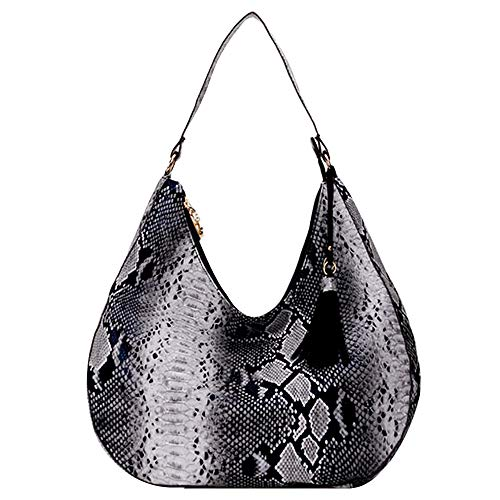 CLARA Snakeskin Hobo Handbag PU Leather Top Handle Bag Tassel Shoulder Bag Satchel Travel Tote Purse Black