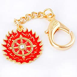 Fengshui Magic Fire Flaming Wheel Keychain Amulet Hanging Charm Anti Negative+ Free Red String Bracelet Sku:W1095