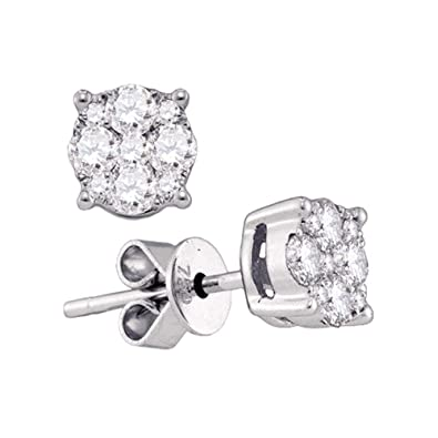 b680ed766ad Image Unavailable. Image not available for. Color  The Diamond Deal 18kt White  Gold Womens Round Diamond Cluster Stud Earrings ...