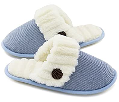HomeTop Women's Cute Fuzzy Knitted Memory Foam Indoor House Slippers For Families Couples (35-36 (US Women's 5-6), Blue)