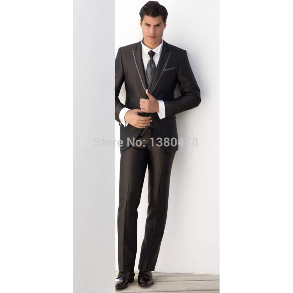 GFRBJK Black Groom Tuxedos Wedding Groomsman Suit Groomsman Trajes ...