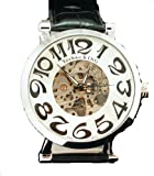 Men's Stainless Case Self-wind up Mechanical Automatic Silver Tone Black Leather Watch, Watch Central