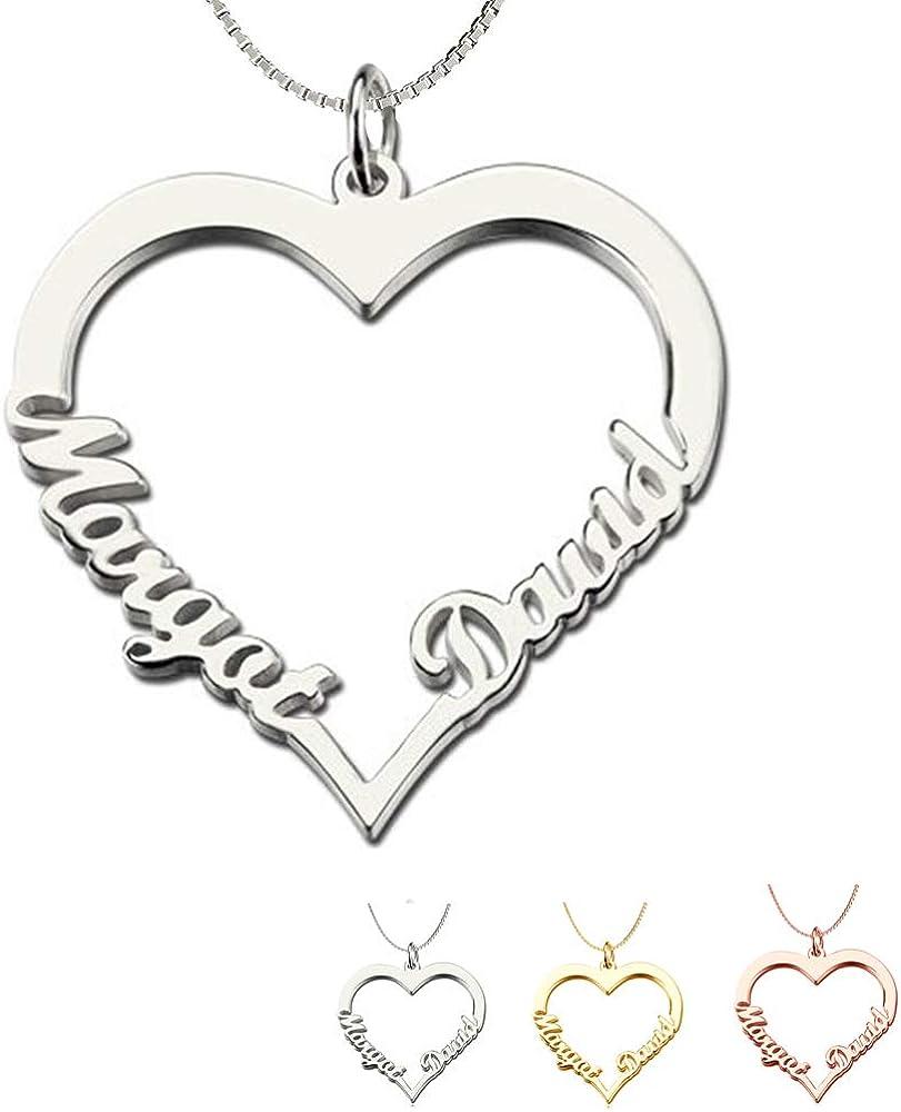 DaMei Colgante Corazón con Nombre Personalizado para Mama Niña Collar de Plata 925 con 2 Nombres Personalizado Joyas Corazón con Nombre para Mujer Regalo de Cumpleaños Aniversario