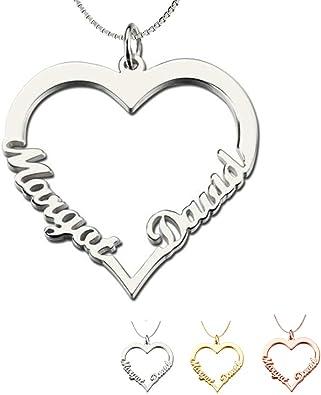 Personalizado Amor Corazón Colgante Collar Cualquier Nombres Grabado Joyas De Plata Reino Unido