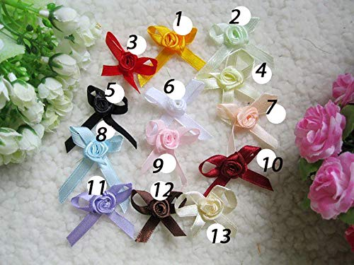 (Dalab 200pcs lot Handmade Satin Ribbon Rose Bow Flower 2.43cm DIY Decoration for Dolls or Clothing 13 Colors Choice - (Color: 1))