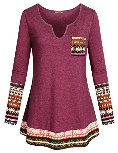 Miusey Henley Shirt for Women, Ladies Bohemian Clothing V Neck Blouses Fashion 2017 Ethnic Wear Patchwork Long Sleeve Tunics Graphic Print Trendy Prime Nice Drape Tops with Pocket Magenta XXL ()